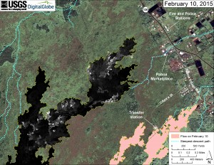 This map overlays a georegistered mosaic of thermal images collected during a helicopter overflight of the distal part of Kīlauea's active East Rift Zone lava flow on February 10 at about 12:30 PM. The base image is a satellite image acquired in March 2014 (provided by Digital Globe). The perimeter of the flow at that time is outlined in yellow. Temperature in the thermal image is displayed as gray-scale values, with the brightest pixels indicating the hottest areas (white shows active breakouts). The blue lines show steepest-descent paths calculated from a 1983 digital elevation model. USGS HVO map.