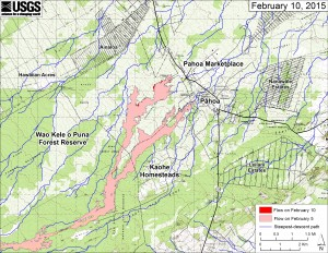 This large-scale map shows the distal part of Kīlauea's active East Rift Zone lava flow in relation to nearby Puna communities. The area of the flow on February 5 is shown in pink, while widening and advancement of the flow as of February 10 is shown in red. The blue lines show steepest-descent paths calculated from a 1983 digital elevation model. USGS HVO map.