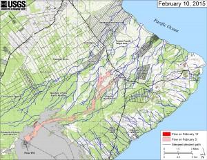 This small-scale map shows Kīlauea's active East Rift Zone lava flow in relation to lower Puna. The area of the flow on February 5 is shown in pink, while widening and advancement of the flow as of February 10 is shown in red. The blue lines show steepest-descent paths calculated from a 1983 digital elevation model. USGS HVO map.