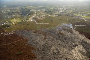 The leading tip of the June 27 flow has been stalled for several weeks, but scattered breakouts have persisted upslope. During an overflight on Feb. 19, one of these breakouts was active south of the stalled tip and about 650 meters (0.4 miles) northwest of the Pāhoa transfer station. USGS HVO photo.