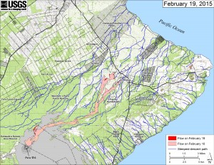 This small-scale map shows Kīlauea's active East Rift Zone lava flow in relation to lower Puna. The area of the flow on February 10 is shown in pink, while widening and advancement of the flow as of February 19 is shown in red. The blue lines show steepest-descent paths calculated from a 1983 digital elevation model. USGS HVO photo.