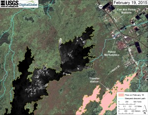 This map overlays a georegistered mosaic of thermal images collected during a helicopter overflight of the distal part of Kīlauea's active East Rift Zone lava flow on February 19 at about 10:30 AM. The base image is a satellite image acquired in March 2014 (provided by Digital Globe). The perimeter of the flow at that time is outlined in yellow. Temperature in the thermal image is displayed as gray-scale values, with the brightest pixels indicating the hottest areas (white shows active breakouts). The blue lines show steepest-descent paths calculated from a 1983 digital elevation model. USGS HVO map.