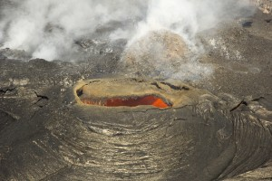 A closer look at the hole in the northeast pit. An active, bubbling lava surface could be seen a couple meters (yards) below the rim. USGS HVO photo.