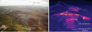 This comparison of a normal photograph and a thermal image shows the leading portion of the June 27 flow. The white box shows the rough extent of the thermal image. In the thermal image, the active breakouts are visible as yellow and white pixels, and these areas are scattered upslope of the stalled tip of the flow. USGS HVO photo.
