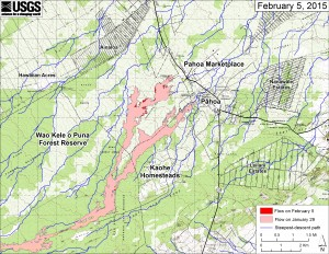 This large-scale map shows the distal part of Kīlauea's active East Rift Zone lava flow in relation to nearby Puna communities. The area of the flow on January 29 is shown in pink, while widening and advancement of the flow as of February 5 is shown in red. The blue lines show steepest-descent paths calculated from a 1983 digital elevation model . USGS HVO map.