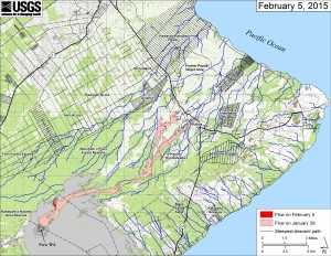 This small-scale map shows Kīlauea's active East Rift Zone lava flow in relation to lower Puna. The area of the flow on January 29 is shown in pink, while widening and advancement of the flow as of February 5 is shown in red. The blue lines show steepest-descent paths calculated from a 1983 digital elevation model. USGS HVO map.