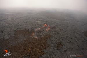 This photo taken on Feb. 9 shows that activity continues in the vicinity of the perched channel, roughly a mile downslope of Pu'u 'O'o. Photo credit: Extreme Exposure Media/Paradise Helicopters.