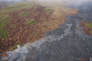 Seen in this photo taken on Feb. 9,  a new breakout (lighter toned lava), more than 200 yards in length, has begun expanding the flow field along the southern perimeter. Photo credit: Extreme Media Exposure/Paradise Helicopters.