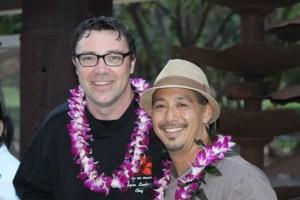 Chef Lyndon Honda with Chef Ryan Luckey of Leilani's on the Beach at Project Kōkua for Hawaiʻi Island in September 2014.  Photo credit: Kaʻuhane Inc.