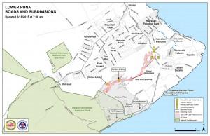 Hawai'i County Civil Defense lava flow map, as of March 16 at 7 a.m. Civil Defense image.