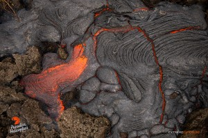 In this photo, taken March 16, pressure builds from within, fracturing the cooled crust of a fresh flow, releasing the fluid pahoehoe. Photo credit: Extreme Exposure Media/Paradise Helicopters.