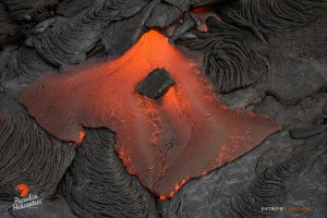 This photo, taken March 16, shows molten lava in the shape of the island of Oahu. Photo credit: Extreme Exposure Media/Paradise Helicopters.