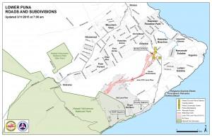 Hawai'i County Civil Defense lava flow map, as of March 11 at 7 a.m. Civil Defense image.