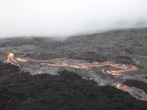 This photo, taken March 10, shows the upslope breakout near vent. Hawai'i County Civil Defense photo.