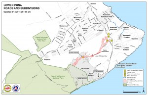 Hawai'i County Civil Defense lava flow map, as of March 14 at 7 a.m. Civil Defense image.