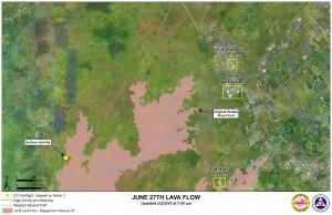 Hawai'i County Civil Defense lava flow map, as of March 2 at 7 a.m. Civil Defense image.