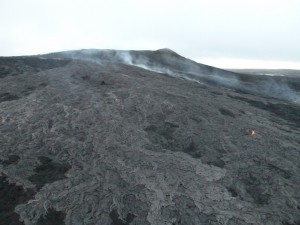 This photo, taken March 2, shows  upslope surface activity near the vent. Hawai'i County Civil Defense photo.