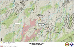 Hawai'i County Civil Defense lava flow map, as of March 3 at 7 a.m. Civil Defense image.