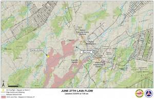 Hawai'i County Civil Defense lava flow map, as of March 5 at 7 a.m. Civil Defense image.