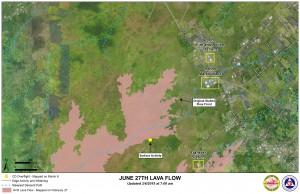Hawai'i County Civil Defense lava flow map, as of March 6 at 7 a.m. Civil Defense image.