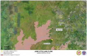 Hawai'i County Civil Defense lava flow map, as of March 9 at 7 a.m. Civil Defense image.