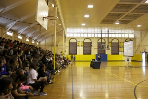 Students at Kohala High School gathered for an anti-meth assembly, which featured an educational presentation by the Hawai'i Meth Project and a first-hand account of the dangers of methamphetamine use by a recovering addict. Photo credit: Keep It Flowing LLC.