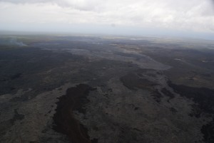 The March 9 breakouts, which issued from the vicinity of Puʻu Kahaualeʻa, are advancing northward (to the left) and reached the forest at the north edge of the Kahaualeʻa flows and was burning vegetation along its edges on March 17 when this photo was taken. USGS HVO photo.