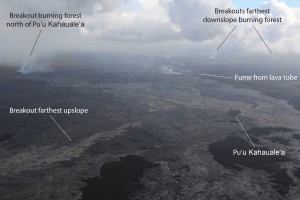 This image, taken on March 24, shows breakouts that were active in three general areas near Puʻu ʻŌʻō: at the northern base of Puʻu ʻŌʻō, north Kahaualeʻa, and about 6 km (4 mi) northeast of Puʻu ʻŌʻō. The distal breakout and the breakout north of Kahaualeʻa were both burning forest. There is no eruptive activity downslope from the distal breakout (nothing active near Pāhoa). USGS HVO photo.