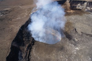 This photo was taken March 6. Summit deflation over the past few days has been associated with a steadily dropping lava lake level. Friday morning, the lake was 72 m (240 ft) below the rim of the Overlook crater. USGS HVO photo.