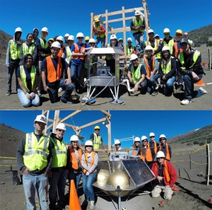 Students from Kealakehe High School (Top) and `Iolani School (Bottom) pose with mentors and their mock-up lunar landers along with PISCES staff at a planetary analogue test site on Mauna Kea. PISCES photo.