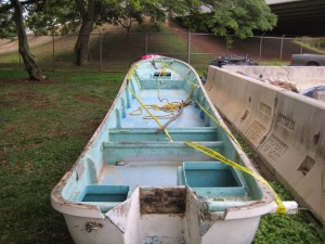 Skiff reported at Punaluu, Oahu, on March 9.  Photo by DLNR.