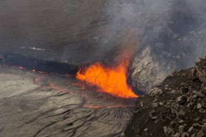 This is a view of spattering at the east corner of the lava lake on the morning of April 26. USGS/HVO photo.