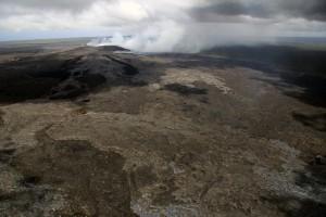 A closer look at the lava flow field near Puʻu ʻŌʻō. Puʻu ʻŌʻō is in the upper left portion of the photograph taken April 3. USGS/HVO photo.