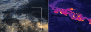 The breakout north of Kahaualeʻa has one lobe that has traveled along the west side of the perched lava channel that was active in late 2007. This breakout consists of blue glassy pāhoehoe, which is easily visible in the photograph on the left. The white box shows the rough extent of the thermal image on the right. Active (flowing) portions of the breakout are shown by yellow and white colors, while the red and purple areas show hot, but solidified, portions of the surface crust. USGS/HVO photo.