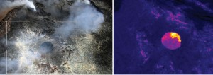 A closer look at the new pit in the western portion of Puʻu ʻŌʻō Crater on April 3. Views inside the crater with the naked eye were obscured by thick fume, but the thermal images (right) revealed two areas of ponded lava, separated by a pile of collapse rubble, deep within the pit. Measurements using the thermal camera images indicated that the lava pond surface was roughly 24 m (about 80 ft) below the rim of the pit. USGS/HVO photo.
