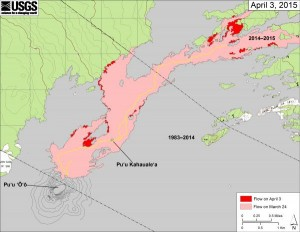 This map shows recent changes to Kīlauea's active East Rift Zone lava flow field. The area of the flow on March 24 is shown in pink, while widening and advancement of the flow as of April 3 is shown in red. USGS/HVO map.