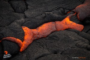 April 16, 2015. Pressure from within breaks the cooled crust, allowing molten lava to ooze forth. Photo credit: Extreme Exposure Media/Paradise Helicopters.
