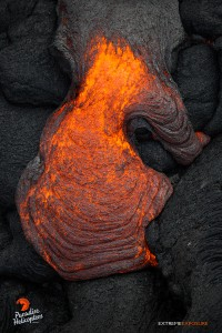 April 16 2015. A toe of lava breaks out, forming ropey braids. Photo credit: Extreme Exposure Media/Paradise Helicopters.