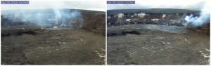Kīlauea Volcano's summit lava lake, which was about 12 m (40 ft) below the vent rim on April 25 (left), overflowed the vent rim for the first time at about 9:40 p.m., HST, on April 28. As of noon on April 29 (right), the lava lake had overflowed the vent rim several more times. These Webcam images capture the summit vent before and after the overflows. USGS/HVO photos.