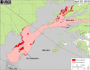 his map shows recent changes to Kīlauea's active East Rift Zone lava flow field. The area of the flow on April 9 is shown in pink, while widening and advancement of the flow as of April 23 is shown in red. Puʻu ʻŌʻō lava flows erupted prior to June 27, 2014, are shown in gray. USGS/HVO map.