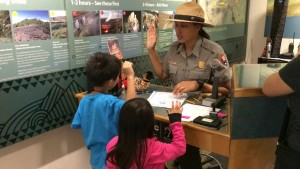 Keiki become Junior Rangers in Hawai'i Volcanoes National Park/NPS Photo.