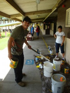 """Volunteers gathered at Mountain View Elementary School on April 25 for this year's """"Labor of Love"""" event. Photo credit: Waylen Domingcil."""