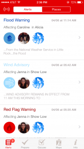 "Screen shot of alerts on American Red Cross' new ""Emergency App."" Red Cross image."