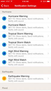 "Screen shot of Notification Settings on American Red Cross' new ""Emergency App."" Red Cross image."