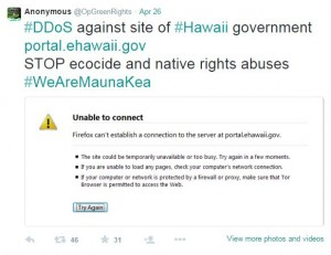 A screenshot from Anonymous' twitter feed indicates a cyber-attack on the State of Hawaii website.