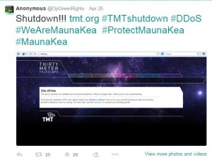 A screenshot from Anonymous' twitter feed indicates a cyber-attack on the TMT website.