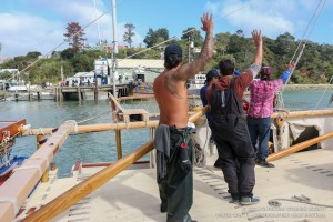 Hokulea departed from New Zealand on Wednesday, April 29. Photo: Polynesian Voyaging Society.