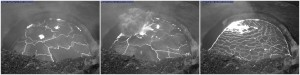 """This sequence of HVO webcam images of Kīlauea Volcano's summit vent, recorded between 1:28 and 1:32 p.m., HST, on May 12, 2015, captures the moment a section of the dark-colored """"bathtub ring"""" (a veneer of fresh lava that coats the vent wall as the lava lake level drops) fell into the lava lake (center). USGS/HVO photos."""