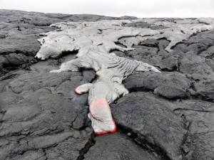 This photograph, take May 5, shows one of June 17 lava flow, active breakouts closer to Puʻu ʻŌʻō. USGS/HVO photo.
