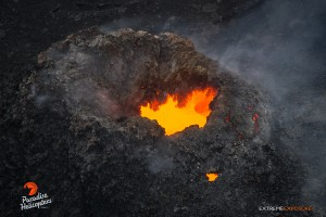 This photo, taken on May 6, shows a spatter cone on the floor of Pu'u 'O'o crater. Photo credit: Extreme Exposure Media/Paradise Helicopters.